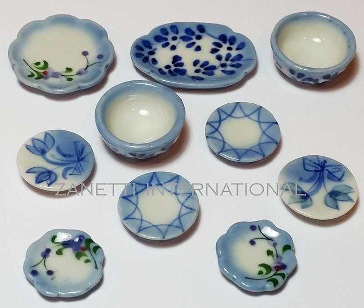 10-Piece Dollhouse Miniature Ceramic Set * Doll Mini Food Bowl Plates Dishes c66 | eBay