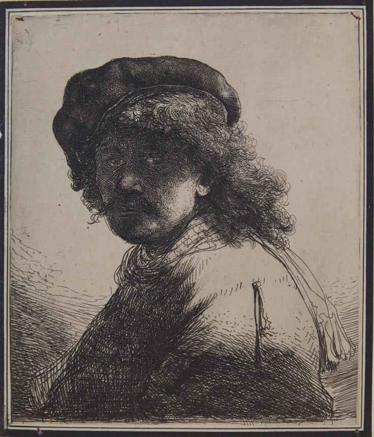 Rembrandt Harmenszoon van Rijn,  Autoritratto con la sciarpa al collo, 1633,  Pavia, Musei Civici
