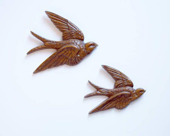 Vintage Burwood Bird Wall Plaques 2 Brown Birds in Flight Made