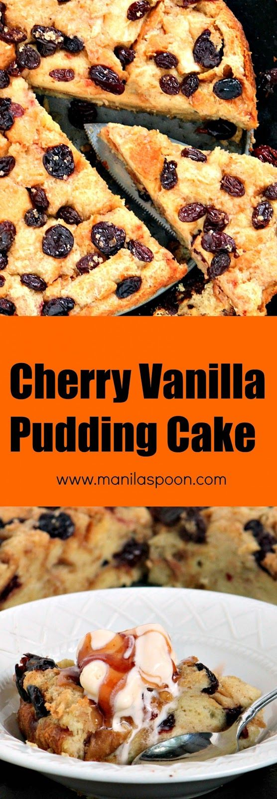 A cake for breakfast!!! This Cherry Vanilla Pudding Cake will make your taste buds sing! You can replace the cherries with other fruits in season. | manilaspoon.com