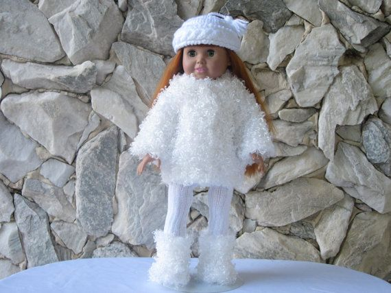 White fur jacket hat and furry boots for an 18 by TinaDollDesigns. www.etsy.com/listing/247259157