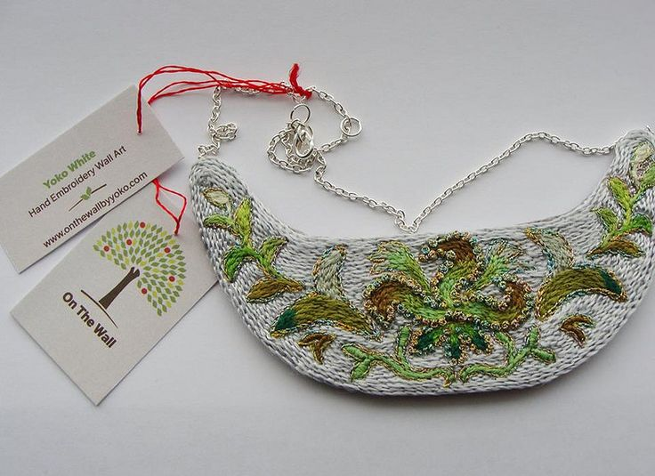 Large Hand Embroidered Necklace by Yoko White at Argyle Fine Art www.argylefineart.blogspot.com