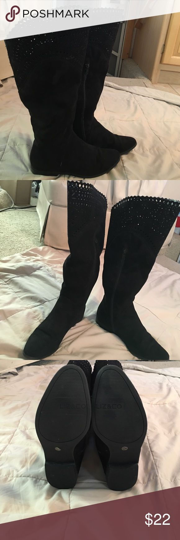 Liz & Co - Beautiful Black Thigh High Boots Liz & Co - Beautiful Black Thigh High Boots  Size 7 Gently Used - Very Clean - Liz Claiborne Shoes Heeled Boots