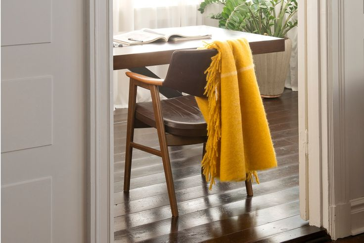 Mohair Throw in Yellow