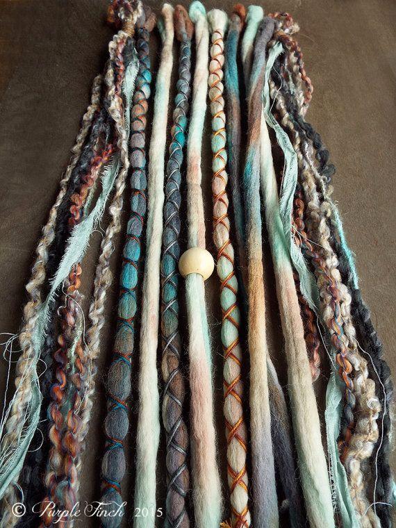 10 Mixed Native & Sand Tie-Dye Wool Synthetic Dreadlock