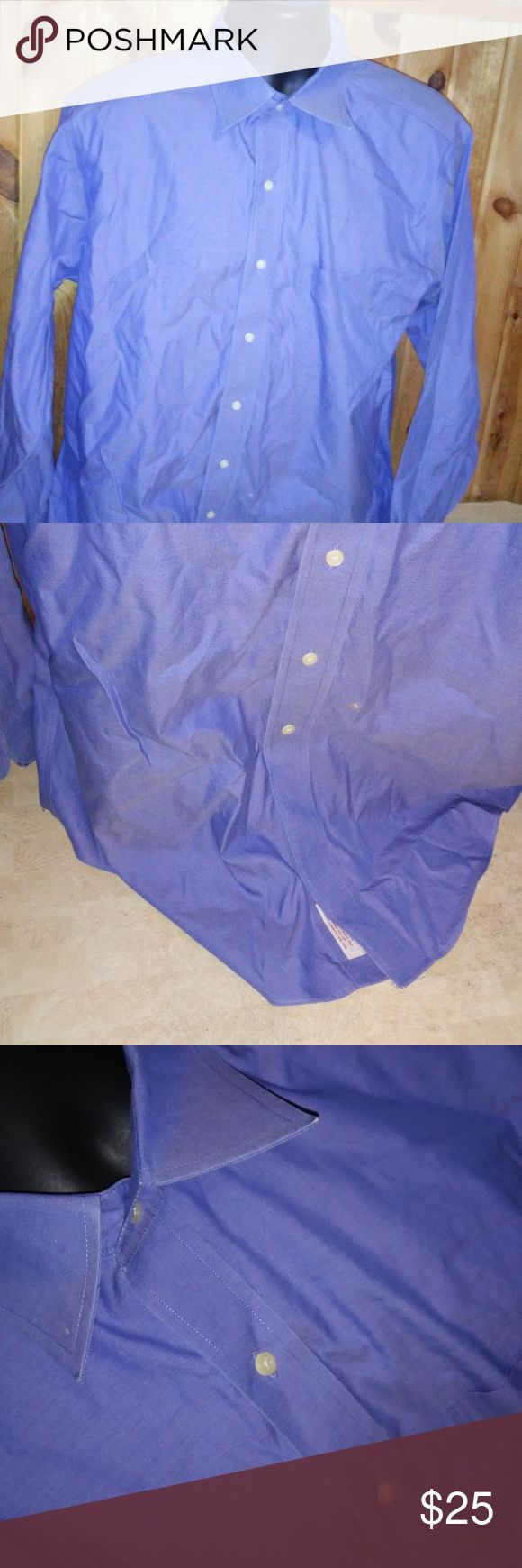 brooks brothers blue non iron shirt men size 16.5 men size 16 1/2 100% cotton short sleeve button down (e4) prev owners name on inside of shirt Brooks Brothers Shirts Dress Shirts