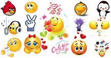 emoticons Facebook populares com expressões mistas.  Enviar os códigos de bate-papo e divertir seus amigos!