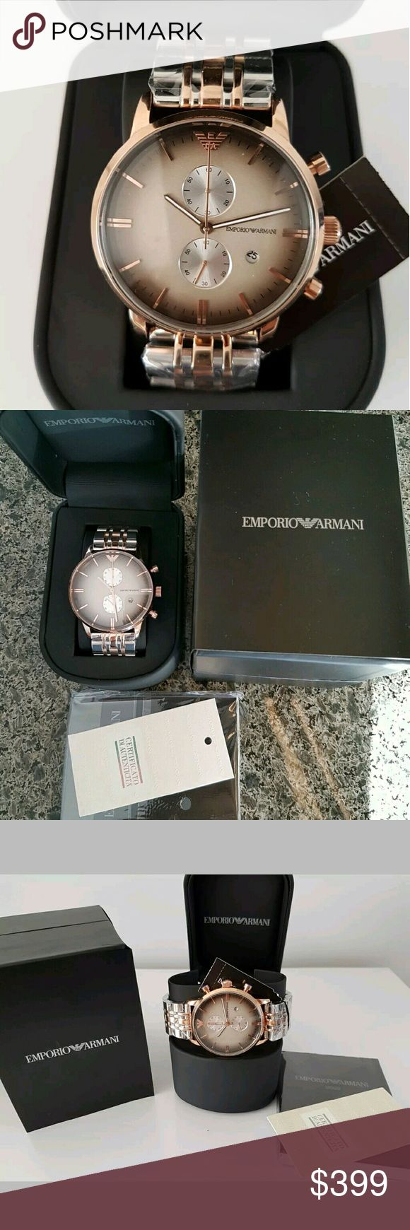 NWT Emporio Armani grey & rose gold Men's watch NWT $500 Emporio Armani Mens Grey and Rose Gold Watch   FIRM PRICE  $399.00 . AUTHENTIC WATCH  . AUTHENTIC BOX  . AUTHENTIC MANUAL   SHIPPING  PLEASE ALLOW FEW BUSINESS DAYS FOR ME TO SHIPPED IT OFF.I HAVE TO GET IT FROM MY WAREHOUSE   THANK YOU FOR YOUR UNDERSTANDING    Case diameter	43 millimeters Case Thickness	12 millimeters Band width	22 millimeters emporio Armani  Accessories Watches