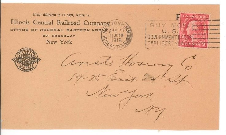 Illinois Central Railroad Company Cover 1918  New York Hudson Terminal