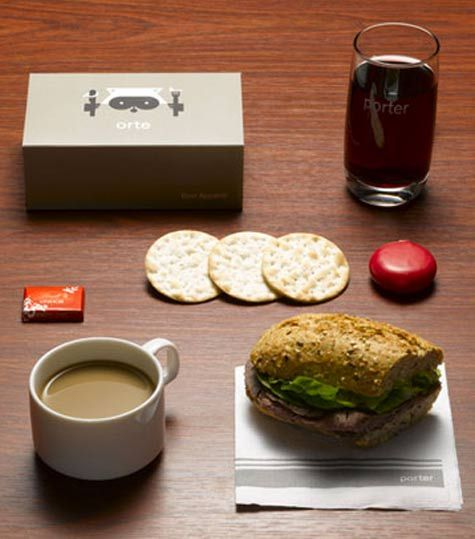 Porter Airlines' bringing back old school travel - inflight food looks so appetizing. Yes real glasses and cups!