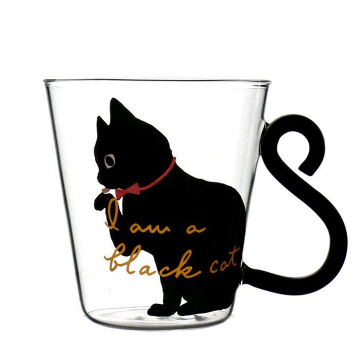Aime et partage si tu aimes Tasse en Verre avec un Mignon Chat Noir         Livraison offerte dans le monde entier    Commande le ici ---> https://animalerie-discount.com/mignon-creative-chat-kitty-tasse-en-verre-tasse-de-the-tasse-de-lait-cafe-mup-petit-dejeuner-tasse-meow-tumbler-mcg043/