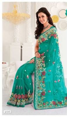 Net Silk Saree with Moti work border 4335