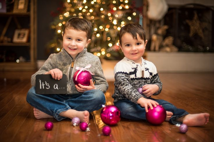 Gender reveal sibling announcement Christmas card