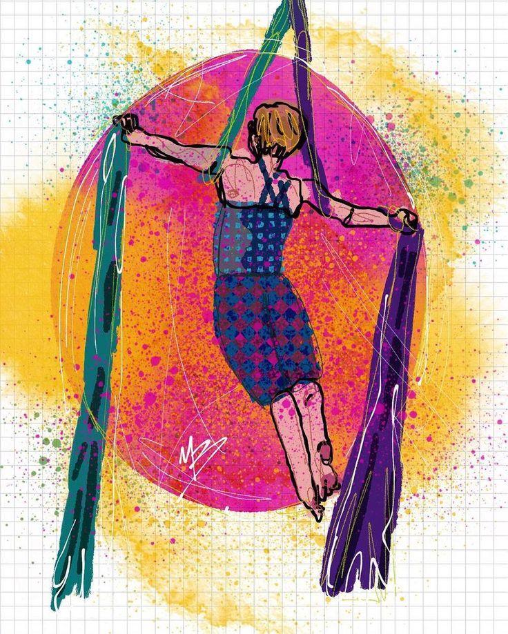 Aerial yoga pose. Inspired by @megrezaerial #aerialyoga #yoga #pose #digitalart #sketch #drawing #digitalpainting #sq #art #illustration