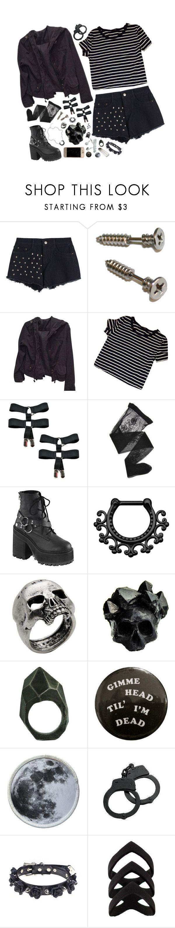 """[ black + white ]"" by sadkingloki ❤ liked on Polyvore featuring Brandy Melville, Emporio Armani, Demonia, John Richmond, Macabre Gadgets and Lady Grey"