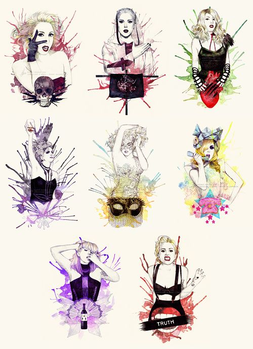 """The Fame Monster EP"" Illustration-Serie: "" Bad Romance // Alejandro // Monster // Speechless // Dance In The Dark // Telephone // So Happy I Could Die // Teeth """