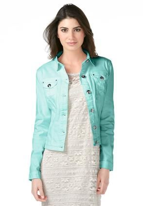 Love this color! Cato Fashions Crystal Button Brushed Denim Jacket - Plus #CatoFashions