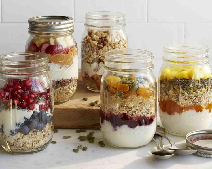 Great make-ahead oatmeal, fruit and yogurt jars. Add your favorite liquid (almond milk or apple or pomegranate juice) shake and enjoy!
