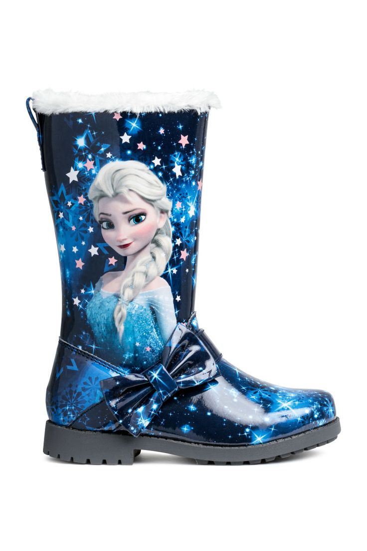 Dark blue/Frozen. Boots in faux patent leather with a printed motif. Zip at side and decorative tab with bow. Pile lining, pile insoles, and chunky rubber