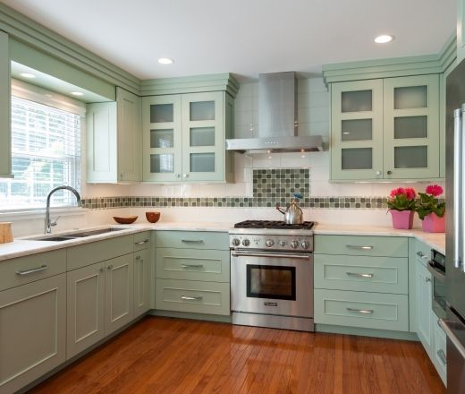 Contemporary U Shaped Teal Kitchen, Teal Cabinets, $20,000   $50,000, Jan  Goldman