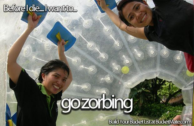 Before I die, I will...Go Zorbing