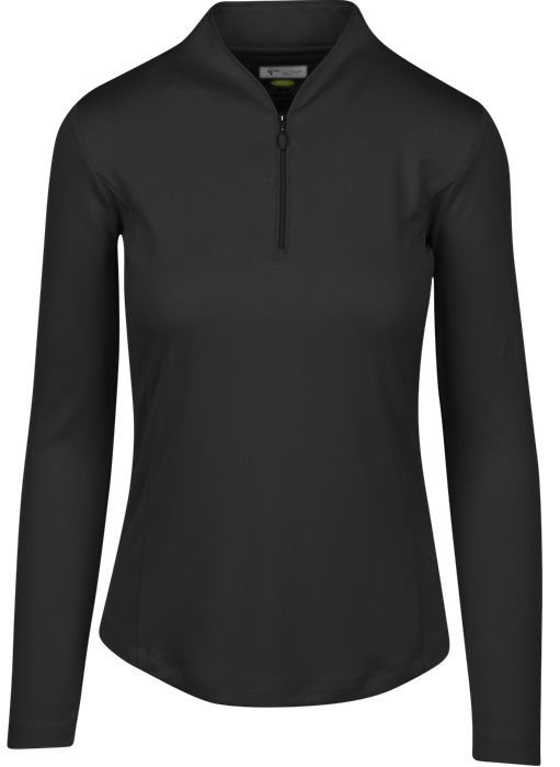 Check out our Black ESSENTIALS Greg Norman Ladies & Plus Size Zip L/S Tulip Neck Golf Shirt ! Find stylish golf apparel at #lorisgolfshoppe Click through to own this shirt!
