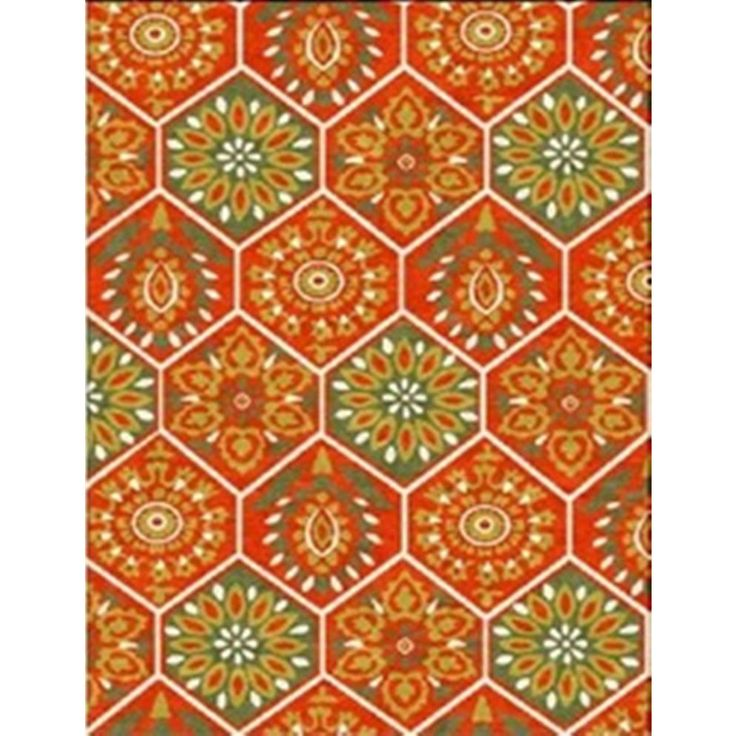 Dynamic Rugs Juniper Floral Hexagon Area Rug (3' x 5') (3x5), Red, Size 3' x 5' (Jute, Geometric)