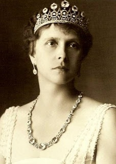 Princess Andrew of Greece and Denmark (born Princess Alice of Battenberg) wearing the tiara dismantled to make Princess Elizabeth's engagement ring and wedding bracelet