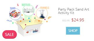 SANDTASTIK® PARTY PACK SAND ART ACTIVITY KIT  Makes 25 Sand Art Bottle ScenesExplosive fun, party-in-a-box!  The classic festival sand art activity in a party-sized pack!  Includes everything you need to design 25 sand art bottle scenes with a rainbow of 12 sand colors.  http://www.sandtastik.com/109-craft-kits-sets/sand-art-kits/1351-party-pack