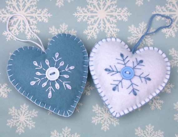 Felt Christmas Ornament, Scandinavian Heart, Embroidered Snowflake.