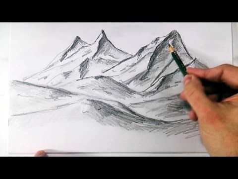 How to draw realistic mountains with pencil, step by step and easy : Drawing The Easy Way - YouTube