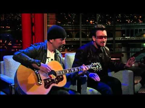 U2 Bono & The Edge Perform 'Stuck In a Moment' on David Letterman -  GENIUS MUSICIAN - NO BAND -  BONO MAKES IT LOOK SO EASY - SUPERSTAR