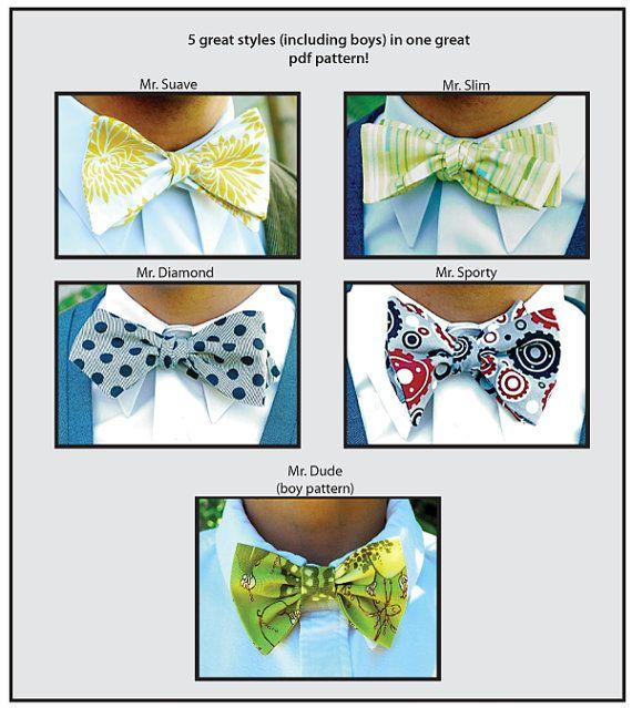 ... pdf Men and Boy's 5 styles...downloadable pdf pattern bow tie pattern