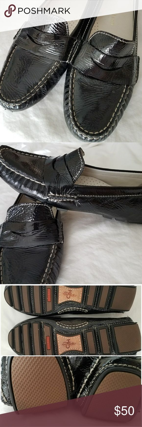Cole Hann Patent Leather Loafers So cute! These Cole Hann loafers feature the comfort of Nike Air technology.  Some wear evident on the inside, (logo is partially worn away), but everything else is in excellent condition! Size 7.5 B. Cole Haan Shoes Flats & Loafers