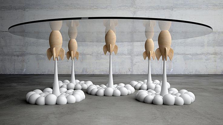 ?Rocket? il tavolino da caff? di design che sembra reggersi sui razzi dei…