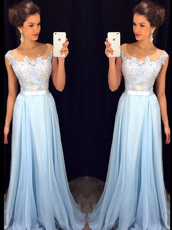 2016 A-Line Strapless Sleeveless Empire Zipper Prom Floor-Length Chiffon Light Sky Blue Prom Dresses