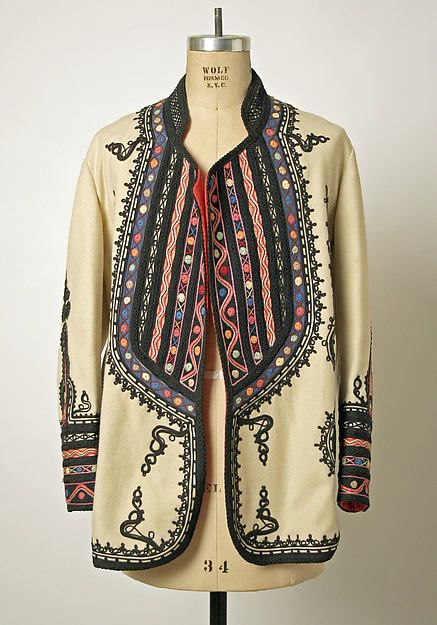 Coat Date: early 20th century Culture: Romanian Medium: wool, silk Dimensions: Length at CB: 31 in. (78.7 cm) Credit Line: Gift of Christine Valmy, 1981 Accession Number: 1981.312.2
