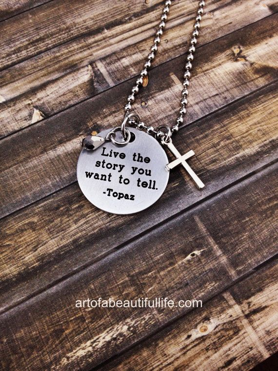 171 best unique handmade jewelry images on pinterest hand print live the story you want to tell christian necklace by simply topaz inspirational quote necklace aloadofball Images