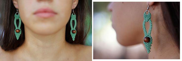 Green fairy earrings, with wooden bead, Dangle earrings, Indian earrings!