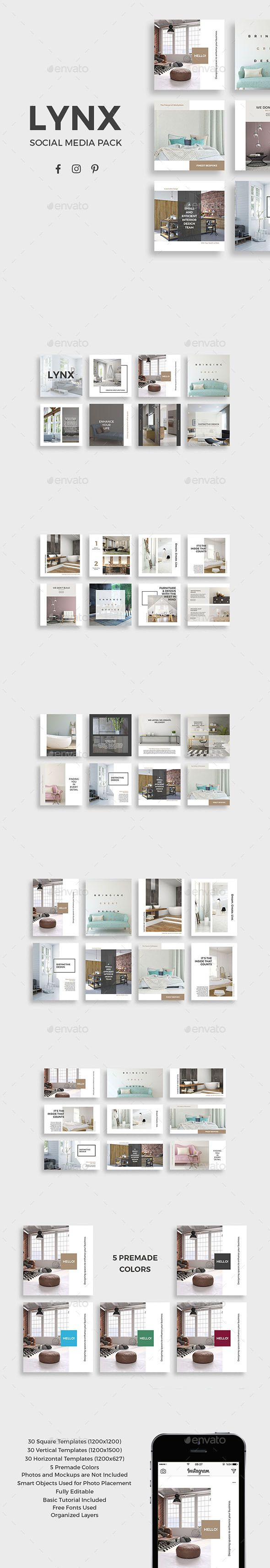 Lynx Social Media Pack — Photoshop PSD #home decor #manufacturer • Download ➝ https://graphicriver.net/item/lynx-social-media-pack/19616209?ref=pxcr