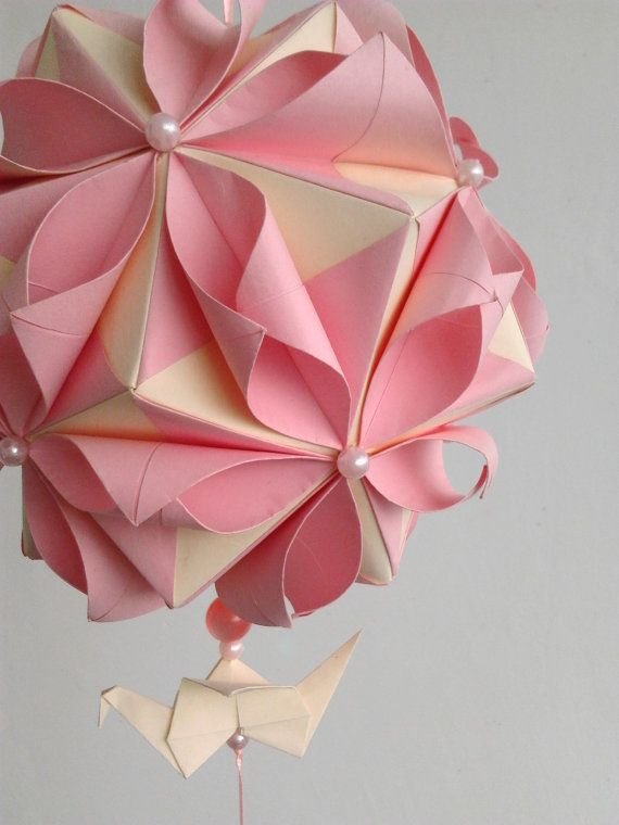Origami flower kusudama ball the image for Decoration origami