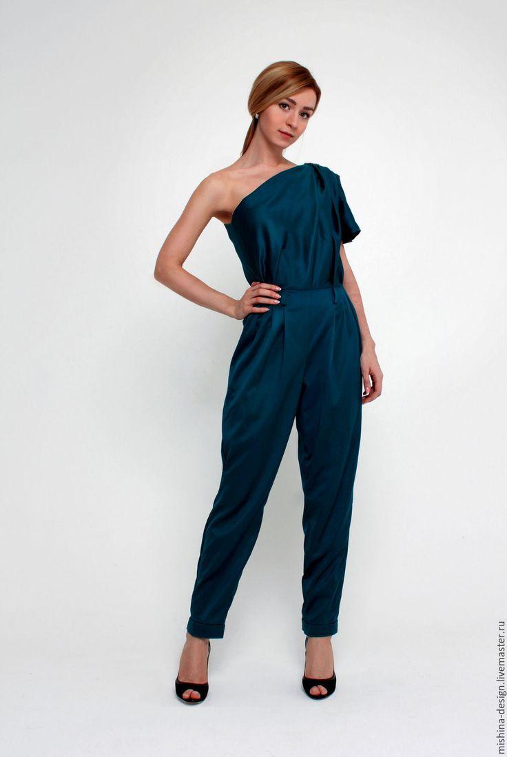 Купить Вечерний комбинезон - тёмно-бирюзовый, однотонный, комбинезон женский, вечерний наряд, корпоративный стиль