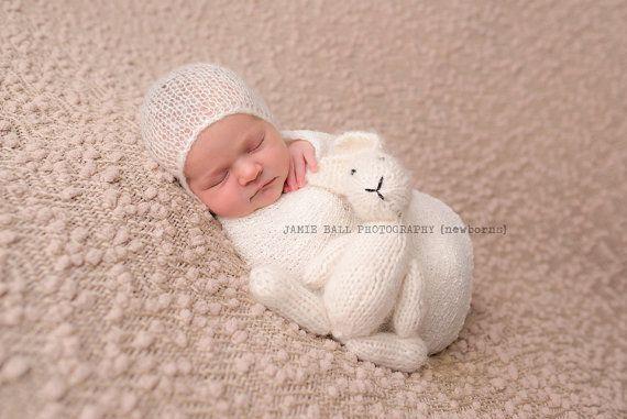Ivory mohair bonnet newborn photo prop by sweetellasboutique