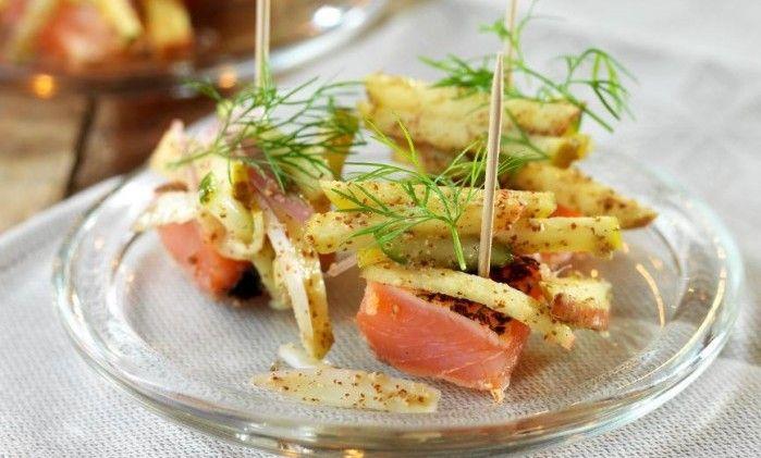 Sotad gravlax och äppelsallad