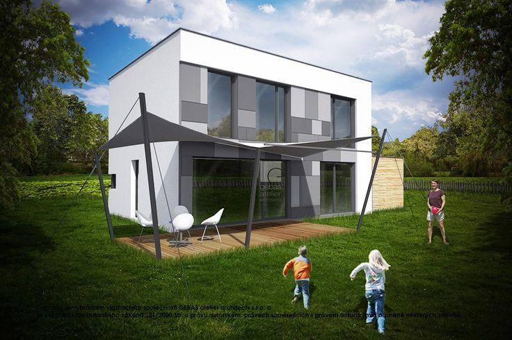 Typový projekt dvoupodlažního rodinného domu o velikosti bytové jednotky 5+kk s přístřeškem na auto, výstupem z obývacího pokoje na terasu objektu a plochou střechou.