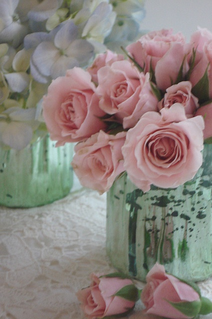 pink roses in mercury glass...beautiful!
