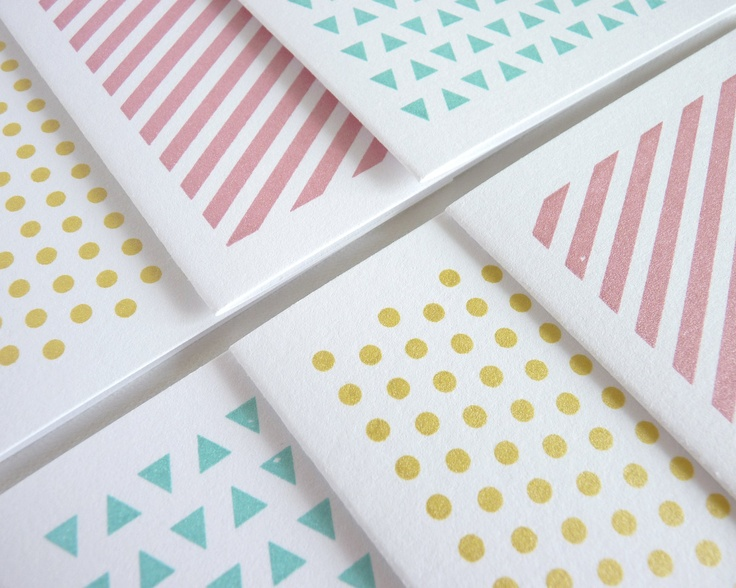Geometric Patterns - Set of 6 Gocco Printed Note Cards. $20.00, via Etsy.