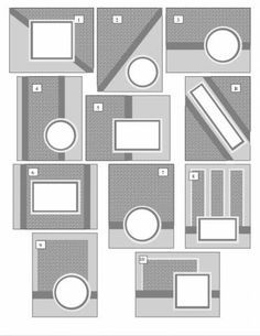 my OSW computer-generated layout ideas for 10 cards plus gift box        Poster: tamfielder    These are the layouts I eventually came up with from one sheet of 12x12 printed paper. I prefer to play with the shapes and layouts on the computer before cutting up my paper. It's a lot of work initially, but only a one-time deal! I can now use this layout set with many different papers!