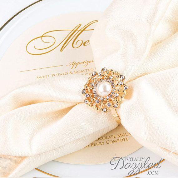 25pcs Wedding Napkin Rings Rhinestone Wedding by TotallyDazzledBiz