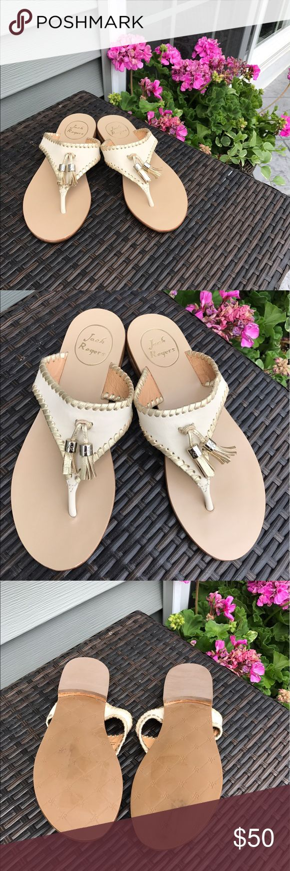 Jack Rodgers 'Alana' Thong Sandal Jack Rodgers 'Alana' Thong Sandal in bone and gold with tassel. Size 6.5. Brand new never worn. Beautiful! Jack Rogers Shoes Sandals